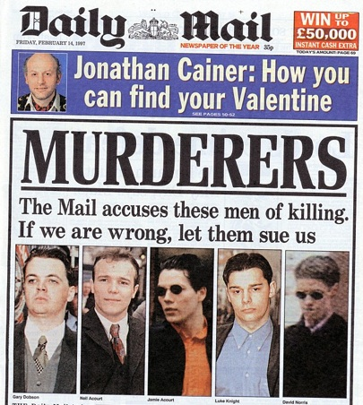 daily mail stephen lawrence headline murderers