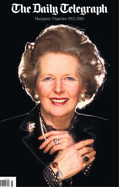 Daily Telegraph Thatcher death front page