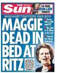 The Sun headline Margaret Thatcher death